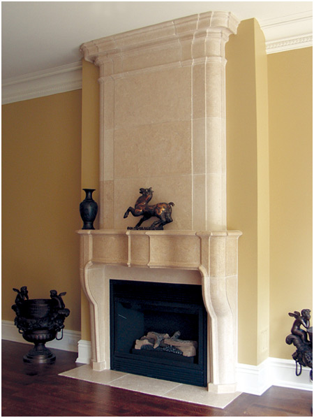 spanish cream marfil marble mantel