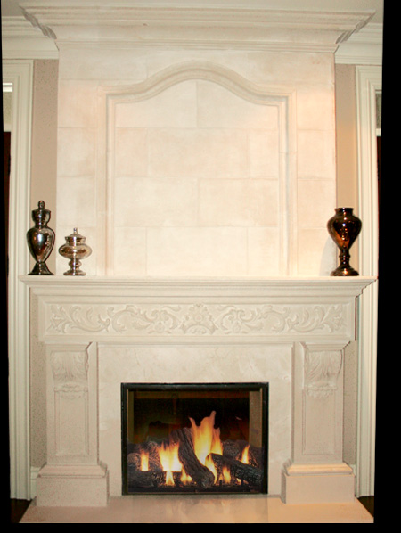 Spanish Cream Marfil Marble Fireplace Mantles